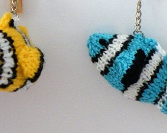 A handknitted Clown Fish Keyring in a choice of colours