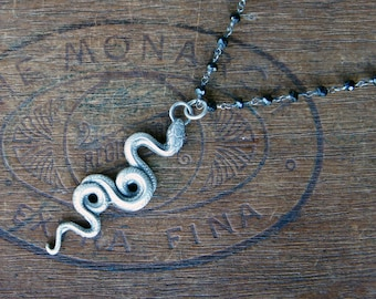 Sterling Silver Slithering Snake Serpent Necklace