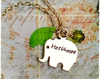 Vegan Elephant Vegan Necklace Elephant Neckace Herbivore Vegan Jewelry Elephant Jewelry Animal Jewelry Animal Lovers Animal Rights Plant