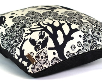 Mikko Black (Ink) on Natural with Indigo Denim Back Cushion Cover - Screen Printed, Birds, Trees, Abstract, Modern, Handmade Pillow