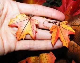 maple leaf earrings Orange Autumn Leaves Earrings