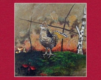 Ruffed Grouse - Matted Print