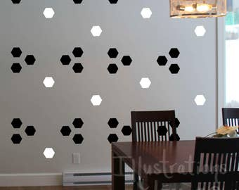 Wall decals HEXAGONS 2 inches-forms REPOSITIONABLE sticker quality-choice colors CUSTOM-Deco wall-removable vinyl