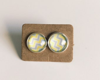 Yellow & Grey Zig Zag Glass Studs