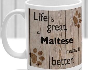 Maltese dog mug, Maltese gift, dog breed mug, ideal present for dog lover