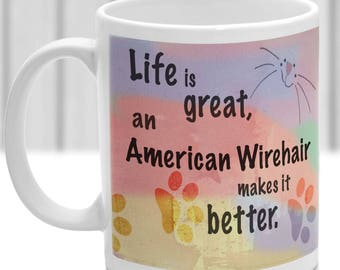 American Wirehair cat mug, American Wirehair cat gift, ideal present for cat lover