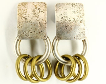1960s Marjorie Baer Big Chunky Clip On Earrings - MB SF Long Dangle - Large Vintage Mad Men Estate Jewelry, Industrial Modernist Mid Century