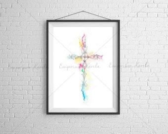 Watercolor Cross - Digital - Handmade  - PRINTABLE