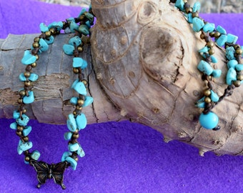 Butterfly Turquoise Waxed Cord Knotted Necklace