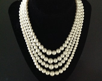 Vintage Four Strand Faux Pearl Necklase