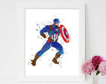 Captain America - Hero, Avengers Print, Comic Posters, Painting Printable, Marvel Illustrations, Children Art Prints, Drawing, Boys Wall Art