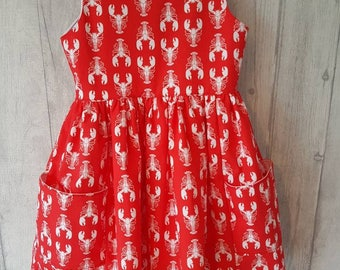 Age 3 June Dress in lobster print cotton