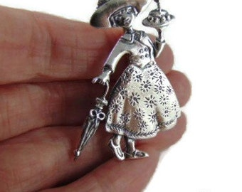 Beautiful 925 Silver brooch Mary ENGELBREIT MARY POPPINS!