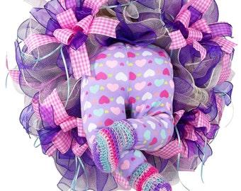 Baby Girl Wreath - Baby Girl Decor - Baby Wreath - Nursery Decor - Baby Shower Gift - Bubble Baby Bottom - Wall Decor - Deco Mesh Wreath