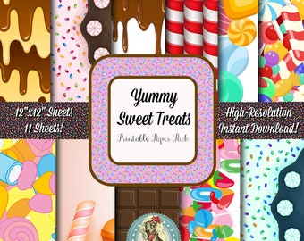 Sweet Treats Digital Paper Pack, Chocolate, Candy Cane, Sprinkles, Scrapbook Paper, Candy Party, Candy Shop, Candy Clipart, Candy Clip Art
