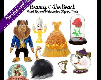 BEAUTY and The BEAST Clipart, Belle Clipart, Digital Clipart, Digital Clip Art, Mrs Potts, Mrs Potts and Chip, Lumiere Candle, Babette