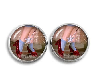 Wizard of Oz Stud Earrings Dorothy Ruby Slippers 12mm  Fandom Jewelry Geeky Fangirl Fanboy