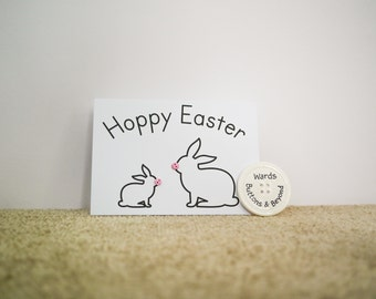 Hoppy Easter Button People Rabbit Greetings Card
