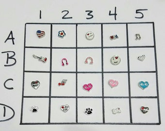 Set of 3 Music, Pets and USA themed floating charms! You choose your favorites!