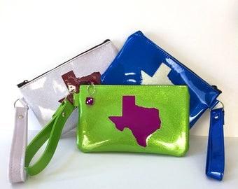 Custom State of Texas Sparkle Wristlet Purse, Glitter Auto Upholstery Vinyl, Retro Clutch Handbag