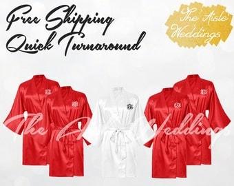 FIESTA SATIN ROBE - Bridesmaid Robes - Silk Robes for Bridesmaids - Kimono Robes for Bridesmaids - Getting Ready Robes - Wedding Party Gifts