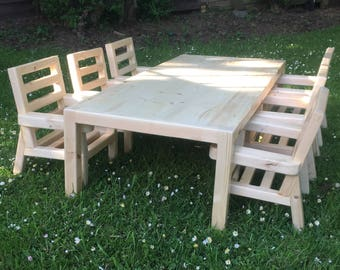 Custom Made Wooden Table and Chair set for 1Yr to 2Yr