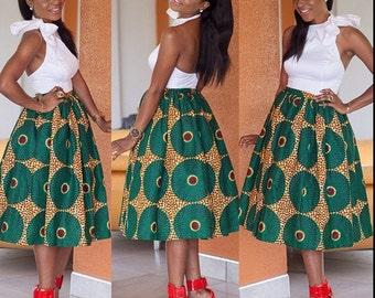 Flared Ankara Midi Skirt with Pleats