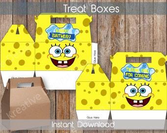 Spongeob Treat Boxes Spongebob Big Treat Boxes Spongebob  Favors Spongebob Party Printables Spongebob Theme Birthday Party INSTANT DOWNLOAD