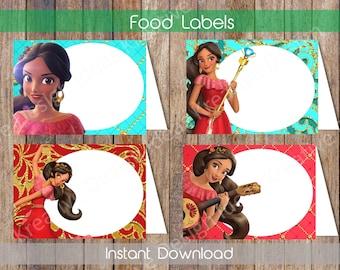 Elena of Avalor Food Labels Elena of Avalor Food Tent Labels Elena Candy Labels Elena Name Cards Elena Printable INSTANT DOWNLOAD