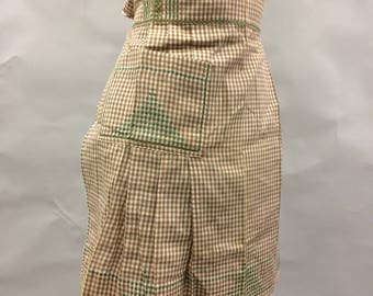 Vintage Apron Brown and White Gingham with Green Cross Stitching