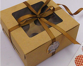 Baking box bakery style, brown kraft paper with cupcake insert. 5 boxes included, Baking DIY set of