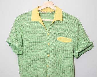 1950's Green Atomic Fleck Rock and Roll / Rockabilly Cropped Shirt | Size Small