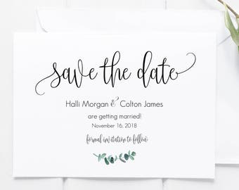 Save the Date, Printable Save the Date, Hand lettered Save the Date, Minimalist Save the Date, Watercolor, Calligraphy, Eucalyptus, Greenery
