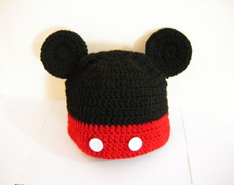 crochet mickey mouse hat, crochet mickey hat, crochet kids hat, crochet baby hat, baby beanie, knitted baby clothes, baby mickey outfit