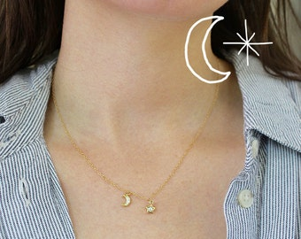 Star and Moon Nightsky Necklace-Gold filled Necklace-Minimal-Dainty