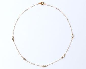 Dainty CZ Diamond Gold Necklace, Layered Necklace, Gold Diamond Choker, Princess Necklace