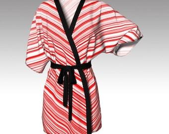 Kimono Robe, Draped Kimono, Dressing Gown, Red Stripes, Beach Coverup, Spa Robe, Bridesmaid Robe, Lounge Wear, Swimsuit Coverup, Gift Women
