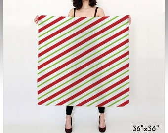 Candy Cane Scarf, Striped Scarf, Red Scarf, White Scarf, Green Scarf, Christmas Scarf, Xmas Scarf, Square Scarf, Long Scarf, Gifts for Women