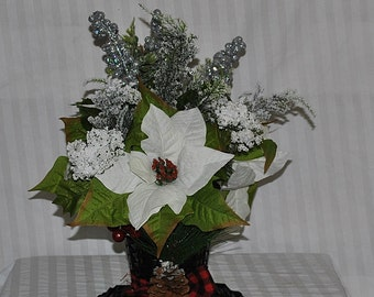white and silver arrangement in a snowman hat, Christmas arrangement, Christmas table arrangement, holiday table arrangement, shelf florals