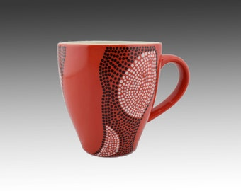 "Coffee mug  - Red mug - Hand painted mug - Ceramic mug -Red ceramic mug- Colorful Red ""Maisha"" Coffee Mug- Mugs - 12 oz"