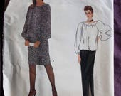 Misses Givenchy Pullover Blouson Top and Straight Skirt Vintage 1980s Vogue 1142 Paris Original Sewing Pattern Size 12 top and 14 skirt