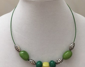 Green and Silver Cable Necklace