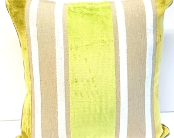 "Cushion cover light green stripes Eijffinger Pillow cover Decorative Pillow Linen Velvet 16""x16"" or 40cmx40cm"
