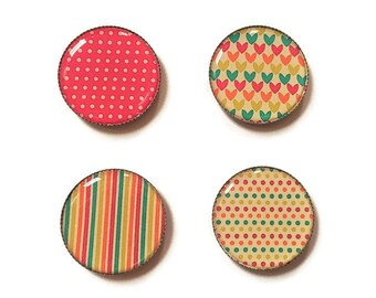 Refrigerator magnets, heart magnet, pretty magnets, striped magnets, fridge magnets