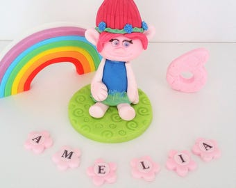trolls poppy  cake toppers edible  personalised decoration