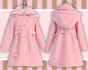 Premium Fleece Pink Teddy Bear Swing Coat
