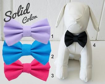 Solid Color Dog Bow Tie, Black, Cobalt Blue, Hot Pink, Lilac