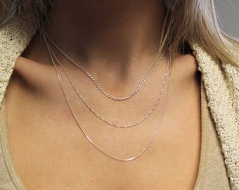 Silver layering chains / 925 Sterling silver necklace set / 3 necklaces / Delicate necklace / everyday necklace / S-T-3