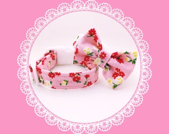 Pink Rose & Daisy Flowers Dog or Puppy Collar