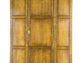 B474 Antique Scottish Tiger Oak Single Door Armoire, Wardrobe, Closet